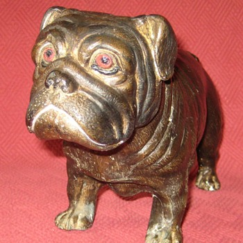 Small Bronze Bulldog Sculpture - Animals