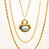 Vintage Goldette Turquoise Fob Necklace