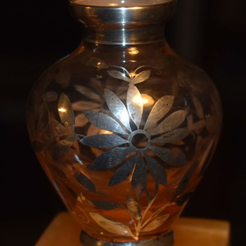Silver Overlay on a Small Glass Vase - Art Glass