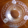 Glass Bowl Etched & Footed