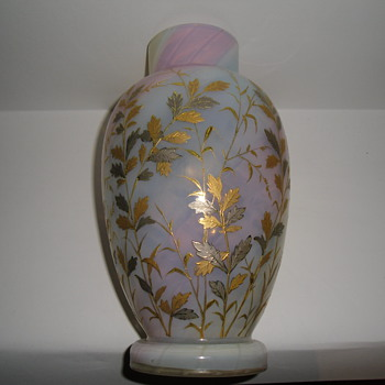 loetz rainbow opalizing vase painted with gold and platinum - Art Glass