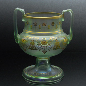 Fritz Heckert enameled uranium glass handled vase - Art Glass