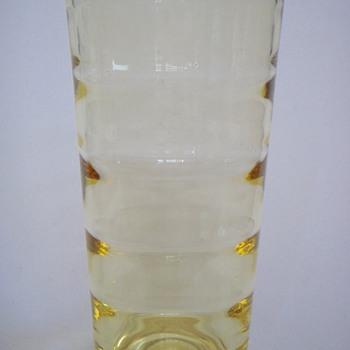 Swedish Modern Optic Vase in Yellow~Age? or maker? - Art Glass