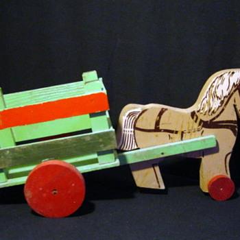 Vintage Horse & Wagon Marked The Toy Kraft - Animals