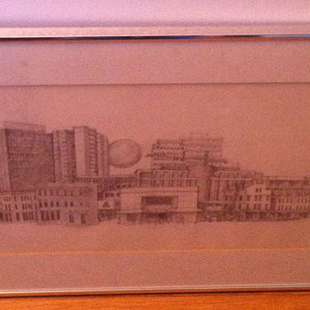 Pencil drawing of downtown. - Fine Art