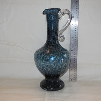 Vintage Blown Bubble Glass Ewer With Applied Handle Possible Pilgrim Glass - Art Glass