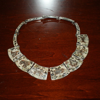 Mexican Vintage Necklace with Stone Ships Inlay - Fine Jewelry