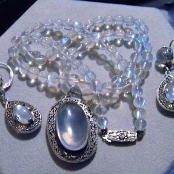 Antique Victorian Ceylon Blue Moonstone Bead 14k Diamond Necklace Earring Demi Parure