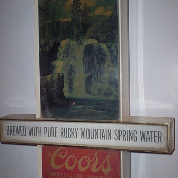 my rare Coors Beer hanging sign motion waterfall scene