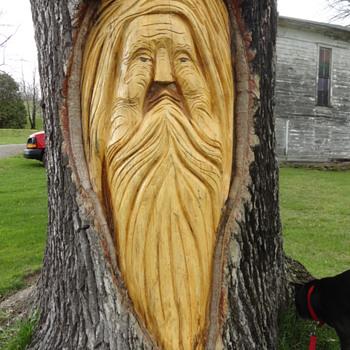 Whimsical Tree Carvings.  - Folk Art