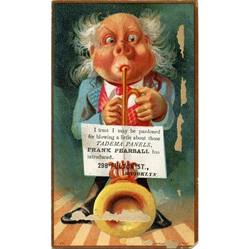 Another 1881 Whimsical Cartoony Trade Card for Frank Pearsall, Brooklyn Photographer - Advertising