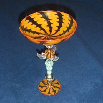 Modern art glass compote - Art Glass