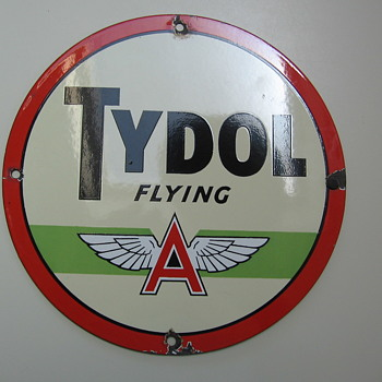 Old Flying A Tydol Gas Pump Sign - Petroliana
