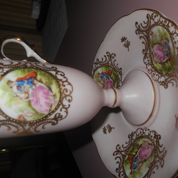 Lefton China Fragonard French hand painted  cup and saucer