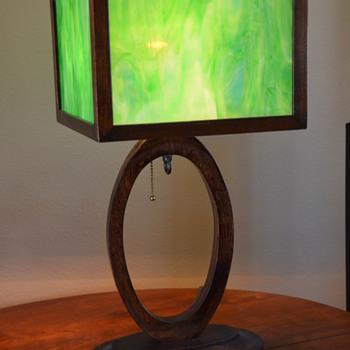 Slag Glass Lamp-- '50s-'60s?