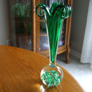 "Emerald Green ""Japan"" 1950-60's  PAPERWEIGHT VASE - Art Glass"