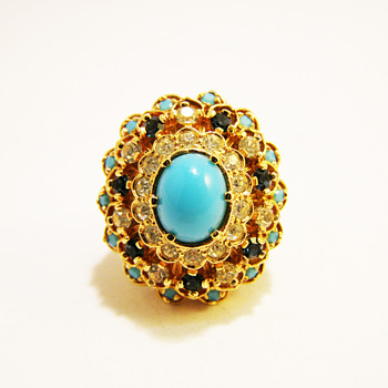 Vintage Panetta Turquoise Cabochon with Tier Rhinestones Ring