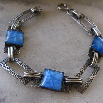 Blue star glass deco sterling bracelet