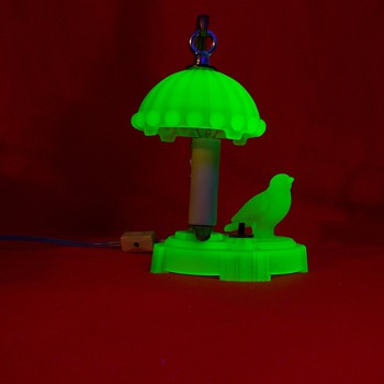 Green Uranium Satin Glass Bird Lamp - Art Deco