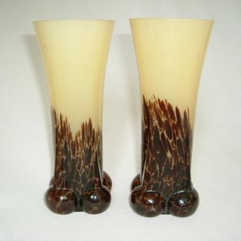 Czech Art Deco Spatter Glass Vases - Art Glass