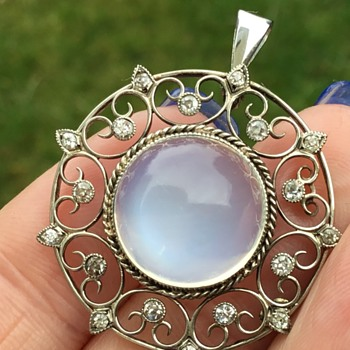 Liberty 18ct White Gold Moonstone and Diamond Brooch - Fine Jewelry