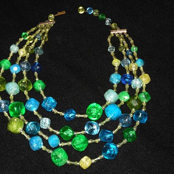 Western Germany Chunky Blue and Green 4 strand necklace - Costume Jewelry