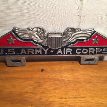 License Plate Toppers- Army Air Corps - Military and Wartime