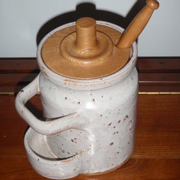 """Interesting Pottery Canister w/Lid & """"Holey"""" Spoon - Pottery"""