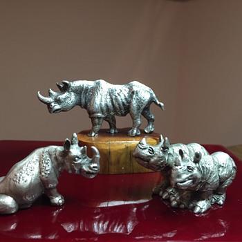 Pewter Rhino Figurines  - Figurines