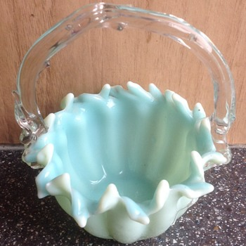 Victorian small glass basket