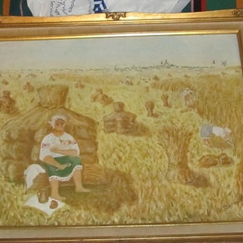 Women in field working painting  - Fine Art