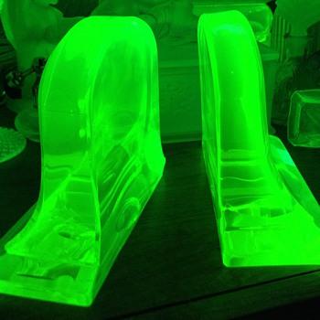 Vaseline Glass Bookends  - Glassware