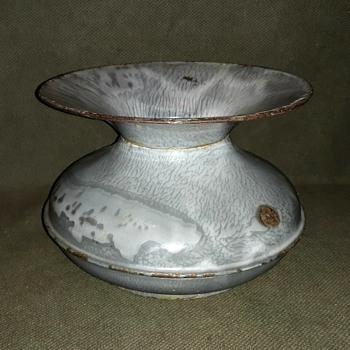 Gray/White Swirl Graniteware Cuspidor Spittoon Circa 100 Years Old - Kitchen