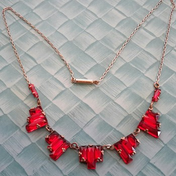 Czech Art Deco Red Stepped Mirror Glass Necklace - Costume Jewelry
