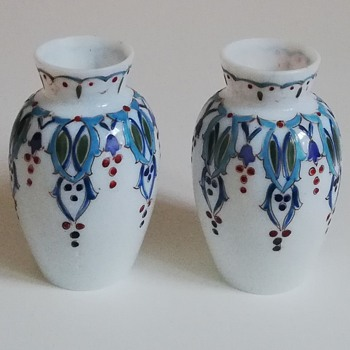 Tiny Bohemian Opaline Vases - Art Glass