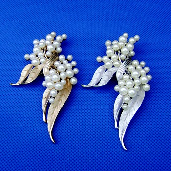 Crown Trifari Pearl Brooches - Costume Jewelry