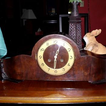Schlenker & Kienzle Long Wooden Art Deco Clock with Counter Weighted Pendulum (waagependel)