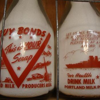 War Slogan Milk Bottles With Ships.....