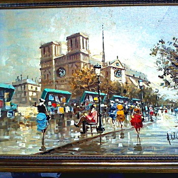 "Antonio DeVity Oils on Canvas / Two Paris Street Scenes /12""x 16"" Canvas/ Stamped, Signed and Framed/ Circa 1950's - Fine Art"