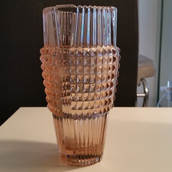 Pink Depression glass vase 11.5 H thick glass, ground bottom - Glassware