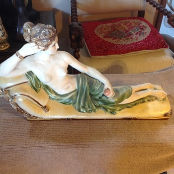 Vintage Nude Reclining On Chaise Lounge Chalk Ware Figurine Sculpture hand painted in water color - Figurines