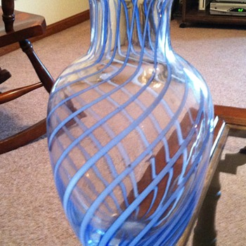 Blue Swirl Glass Vase Unknown Maker - Art Glass