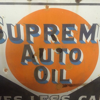 Supreme Auto Oil porcelain sign - Petroliana