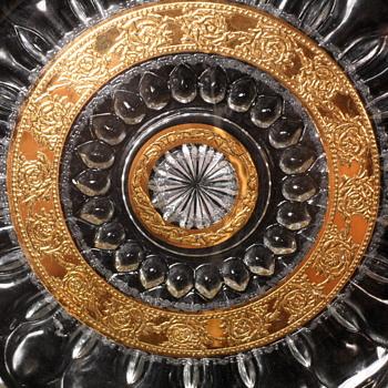 """Culver 10"""" Gold Leaf Platter ~ Tyrol Pattern - Glassware"""