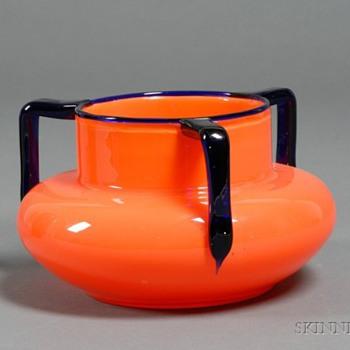 Loetz 3-handle  - #5  ball shape bowls - Art Glass
