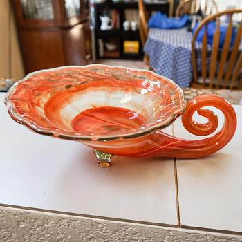 Orange Glass Cornucopia Candy Dish? - Art Glass