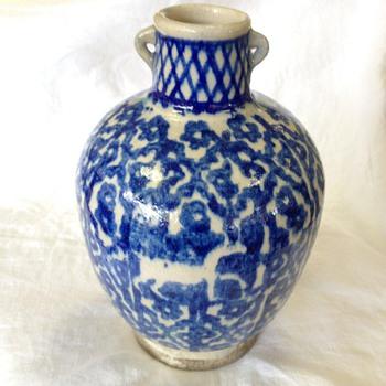 "9"" Handled Jug Blue & White Glaze (Flow Blue) - Asian"