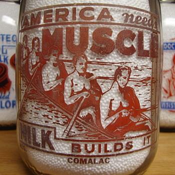 COMALAC DAIRY.....AMERICA NEEDS MUSCLE...QUART MILK BOTTLE...LOS ANGELES, CA. - Bottles