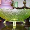 Vaseline Maple Leaf Bowl by Gillinder & Sons