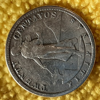 1913 S Philippines 20 Centavos Silver Coin - US Coins
